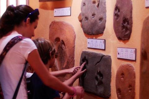 Unos niños observan una de las huellas expuestas en el Museo de la huella de Oasys MiniHollywood
